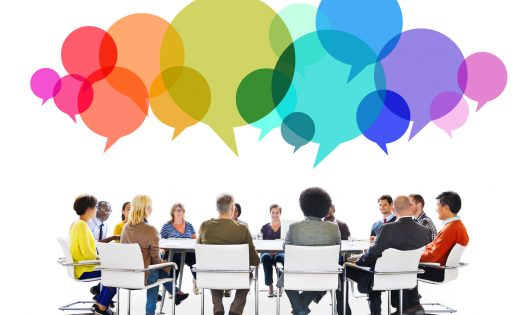 Multiethnic People in a Meeting with Speech Bubbles